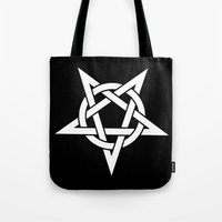 pentagram Tote Bags featuring Pentagram by Howiesgraphics