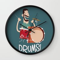 drums Wall Clocks featuring Drums! by soy8bit