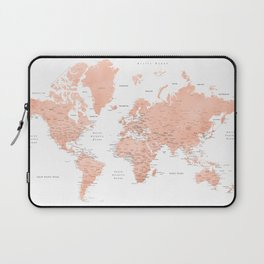 "Rose gold world map with cities, ""Hadi"" Laptop Sleeve"