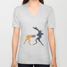 Minimal deer and stag illustration Unisex V-Neck