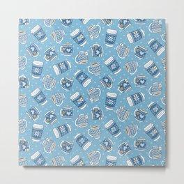 Cozy Blue Mugs Metal Print