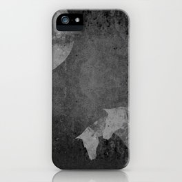Moon with Horses in Grays iPhone Case