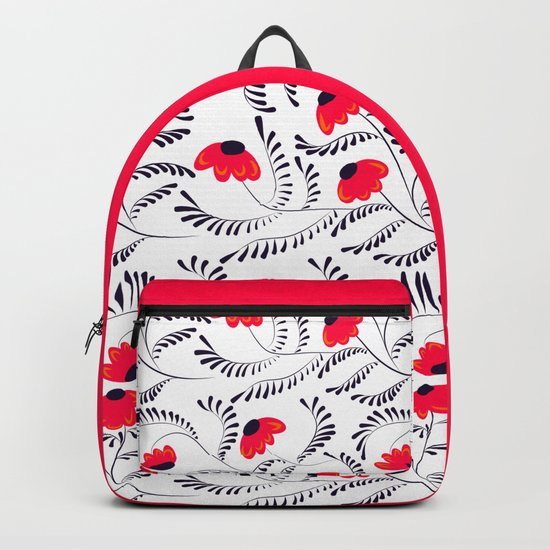 The floral pattern . Red flowers with black leaves . Backpack