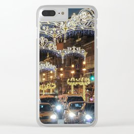 Light decorations on Nevsky Prospect. Clear iPhone Case