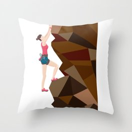 Vintage Cool Girl Rock Climbing Throw Pillow