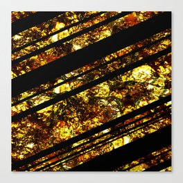 Gold Bars - Abstract, black and gold metallic, textured diagonal stripes pattern Canvas Print