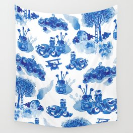 Summer history of watercolor in blue tones Wall Tapestry