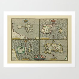Map Of The Channel Islands 1610 Art Print