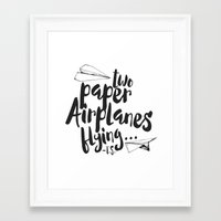 airplanes Framed Art Prints featuring Paper Airplanes by Renata Bernardes