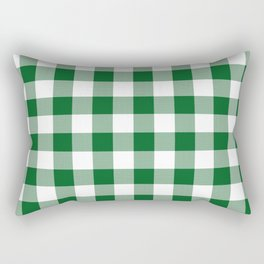 Hunter Green Checker Gingham Plaid Rectangular Pillow