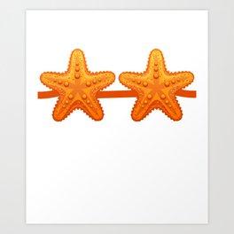Starfish Fake Bra Funny Costume Brassiere Pun Ironic Art Print