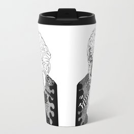 Albert Einstein - black and white Travel Mug
