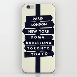 City signpost world destinations iPhone Skin