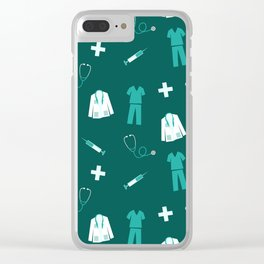 Medical Professional Pattern Clear iPhone Case
