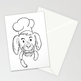 Chef Dog Biting Sausage String Cartoon Black and White Stationery Cards