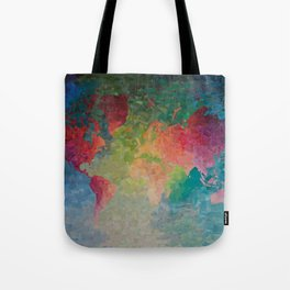 Recycled Color World Map Tote Bag