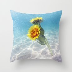 Underwater Sunflowers  Throw Pillow