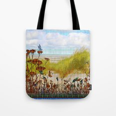 Plaid Beachscape with Dragonflies Tote Bag