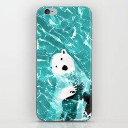 Playful Polar Bear In Turquoise Water Design iPhone Skin
