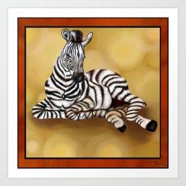 Zebra Artwork, Hand drawn original print, African Animal lovers Art Print