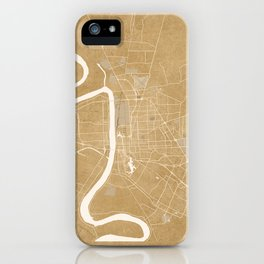 Vintage map of Baton Rouge Louisiana in sepia iPhone Case