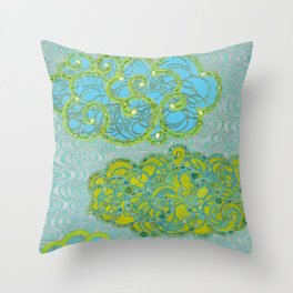 Rainclouds With Silver Waves Throw Pillow