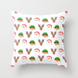 Christmas Santa Elves and Reindeer Holiday Pattern Throw Pillow