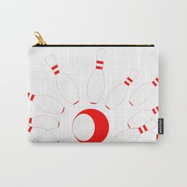 Red Bowling Pins and Ball Carry-All Pouch