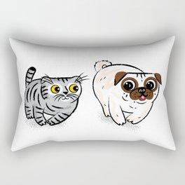 Pug and Cat Rectangular Pillow