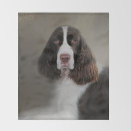 Waiting Patiently - English Springer Spaniel Throw Blanket