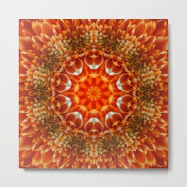 Orange Floral Abstract Tile 47 Metal Print