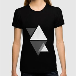 Miminalist Black and White Triangles Abstract T-shirt