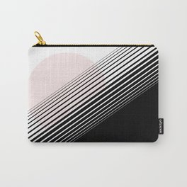 Rising Sun Minimal Japanese Abstract White Black Blush Pink Carry-All Pouch