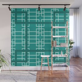 Midcentury Modern Geometric Turquoise Wall Mural