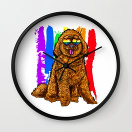 Adorable Dog With Rainbow Heart Glasses Wall Clock