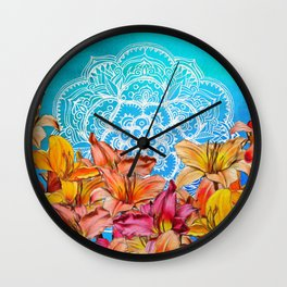 Orange Lilies & White Mandala on Blue Wall Clock