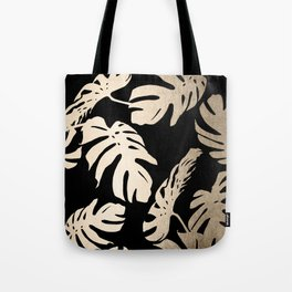 Simply Palm Leaves in White Gold Sands on Midnight Black Tote Bag