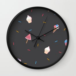 Summer Seamless Pattern with Ice Cream Wall Clock