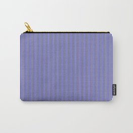 Navy Blue Vertical Pinstripes on White Carry-All Pouch