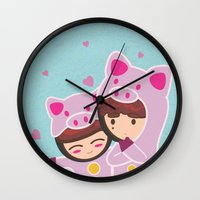 suits Wall Clocks featuring Piggy-Suits by I love Bubbah