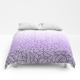 Gradient purple and white swirls doodles Comforters