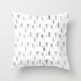 Simple white gray watercolor hand painted bohemian arrows feathers Throw Pillow