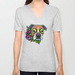 Boxer in White Fawn - Day of the Dead Sugar Skull Dog Unisex V-Neck