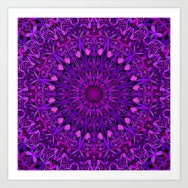 Purple Leaves Kaleidoscope Mandala Art Print