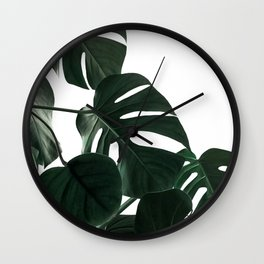 Natural Monstera Leaves Wall Clock
