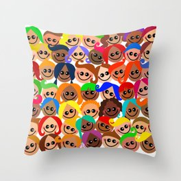 Happy Diverse Children Throw Pillow