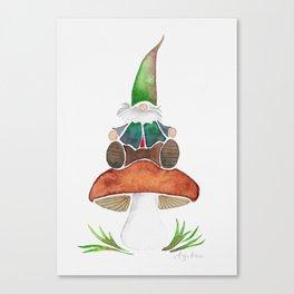 Gnome Sitting on a Mushroom Canvas Print