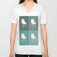 eames V-neck T-shirts featuring Eames x 4 #3 by bittersweat