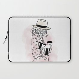 Casual young girl wearing hat and floral dress, clutch bag and a cup of coffee ready to hustle Laptop Sleeve