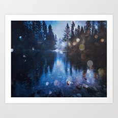 Forest Reflection Nature Lake - Magical Blue Forest Water Reflection Art Print